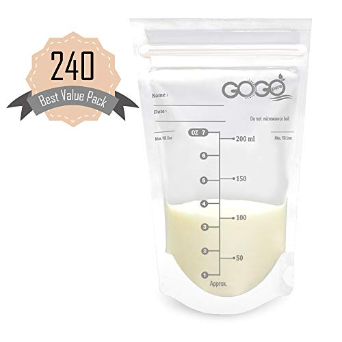 240 CT (4 Pack of 60 Bags) Best Value Pack Breastmilk Storage Bags - 7 OZ, Pre-Sterilized, BPA Free, Leak Proof Double Zipper Seal, Self Standing, for Refrigeration and Freezing - Only at Amazon