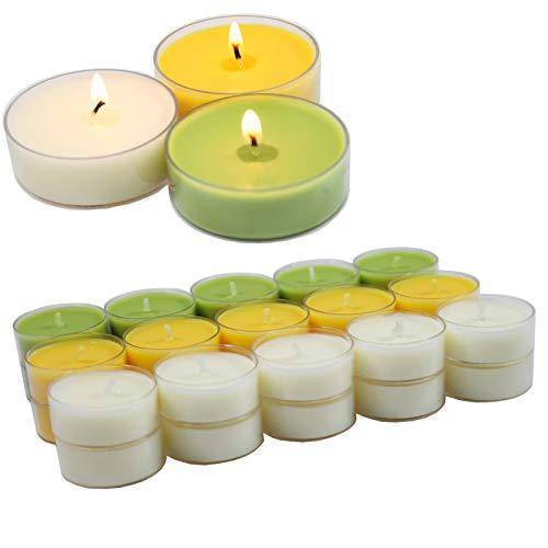 Smart-Planet® kaarsen Ambiente - 30 stuks geurtheelichtjes theelichtjes set citronella geur fruitig - transparante hoes - 4 uur lange brandduur