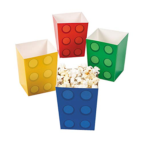 Fun Express Block Party Popcorn Boxes (24pc) for Birthday - Party Supplies - Containers & Boxes - Paper Boxes - Birthday - 24 Pieces