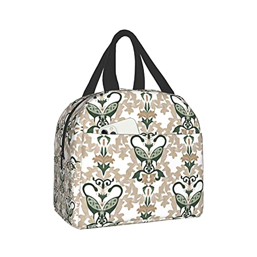YvoneDBrownn Celtic Damask Lunch Bag Cooler Bag Women Tote Bag Insulated Lunch Box Water-resistant Thermal for women/Picnic/Boating/Beach/Fishing/Work