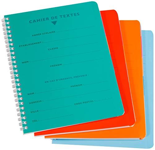 Calligraphe 458460C - Un cahier de texte à spirale (gamme 8000 de Clairefontaine) 124 pages 17x22 cm 90g grands carreaux, couverture polypro (plastique), couleur aléatoire