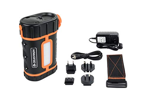 Celestron - PowerTank Lithium Pro Telescope Battery – Rechargeable Portable 12V Power Supply for Computerized Telescopes – 17 hour capacity/ 158.74Wh - Red/White LED Light - 2 USB Ports, Black(18768)