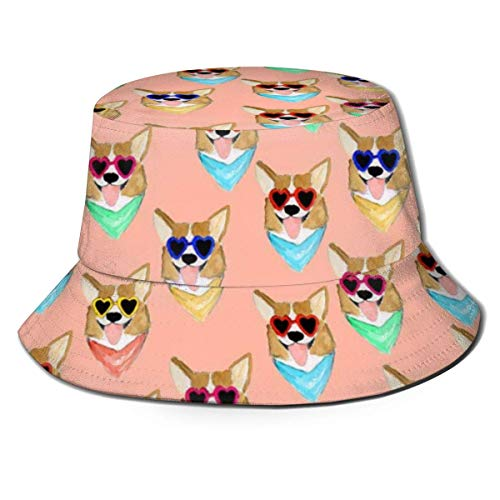 QUEMIN Colorido Corgi Love Sunglass Bucket Hat Sombrero de Pescador Caza Gorras de Pesca Estilo de Moda Deportes al Aire Libre