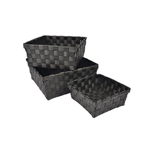 Douceur d'Intérieur 6GMB267NR Panier Tressé Set de 3 Noir 21,5 x 21,5 x 9 cm