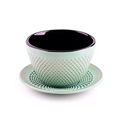 Cast Iron Tea Cups, TOPTIER Tea Cup and Saucer Sets, Japanese Style Enameled Cast Iron Teacup with Cup Mat Pad, Golden Dot Drinkware Tea Cups Set for Coffee, Tea and Gifts (3.4 oz), Light Green