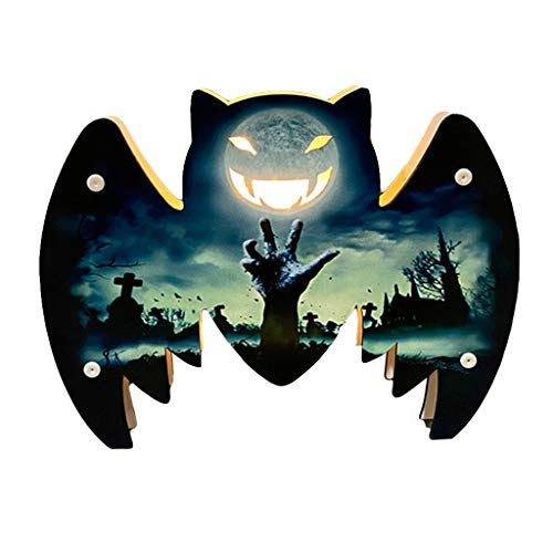 ZZALLL Halloween Decoration Atmosphere Night Light Wooden Lamp Desk Ornaments Bar - 5#