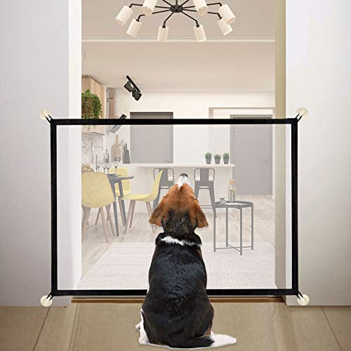 Dog Gate Pet Gate Baby Gate 70'x29' Magic Gate for Dog Portable Folding Mesh Safety Gate for Doorways Outdoor Indoor Install Anywhere Easy to Use 180x75cm Black