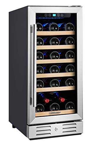 Kalamera 15'' 30-bottle Built-in Compressor Wine Refrigerator Cooler Single Zone with Touch Control