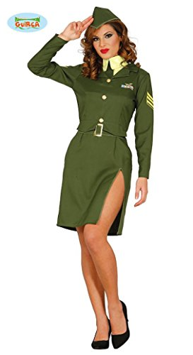 sexy Militär Soldatin Soldat Kostüm für Damen Damenkostüm grün Pilotin Gr. M-L, Größe:L