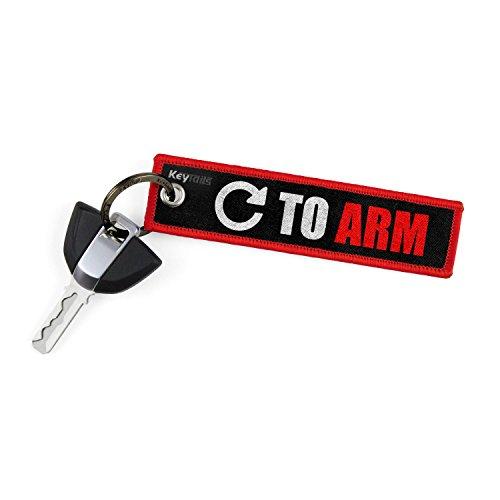 """KeyTails - Targhetta portachiavi di prima qualità, per moto, auto, scooter, quad e fuoristrada, con scritta """"Turn To Arm"""", Rosso"""
