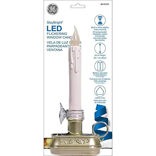 GE StayBright LED 9.5-in Battery Operated Window Candle Matte Silver 78207LO