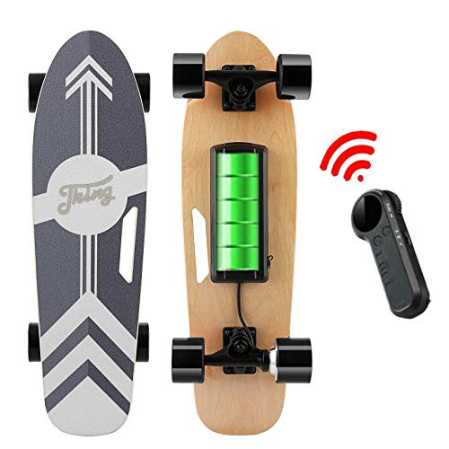 Nesaila 28inch Electric Skateboard 20 KM/H Top Speed, 350W Singal Motor,7 Layers Maple E Skateboard with Wireless Remote Complete Cruiser for Adults and Youths (Black)