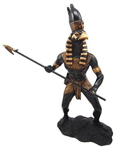 Atlantic Sammlerstücke Horus Falcon Figur ÄGYPTISCHE Gott des Sky & Kingship Spear schwingt Figur 30,5cm H