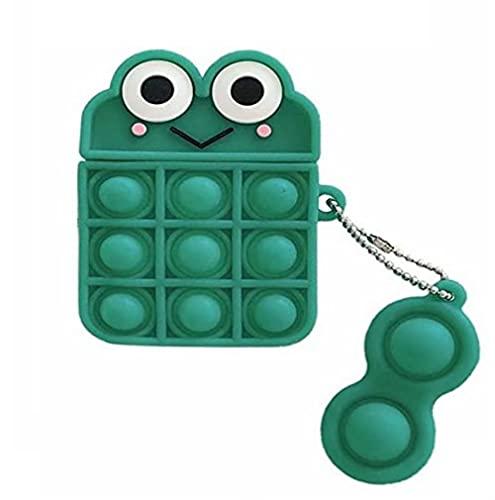 Pop It Fidget Toy Bubble Funda de carga de silicona para Airpods Aliviar el estrés verde y rosa Kawaii lindo para la cubierta de Airpods (verde)