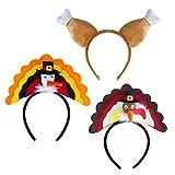 Thanksgiving Turkey Hat, 3pcs Turkey Headband...