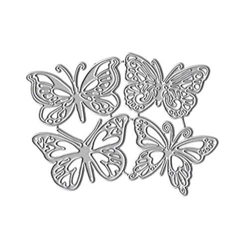 WuLi77 4 Schmetterling Metall Stanzschablone Die Stanzen Zum Basteln Von Karten, Prägeschablone Für Scrapbooking, DIY Album, Papier, Karten, Kunst, Dekoration