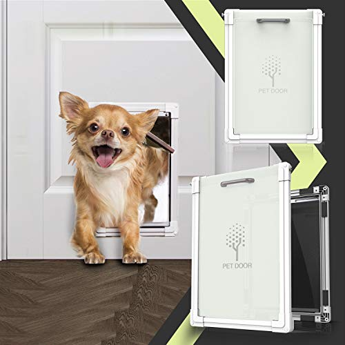 lesotc 2 Ways Locking Dog Door for Exterior Doors, Medium Large Sliding Doggie Door,Metal Training Doggy Cat Door Indoor,Plastic Freedom Pet Door with Aluminum Lining,Consolidate Soft Flap,Anti-Rust