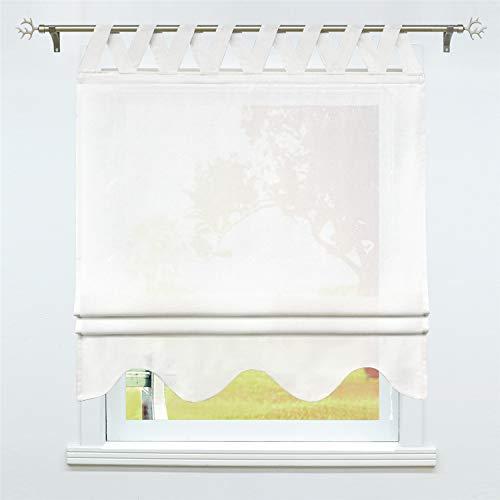 SCHOAL Raffrollo mit Schlaufen Halbtransparente Raffgardine Landhaus Schlaufenrollo Gardinen Leinen mit gebogten Abschluss 1 Stück BxH 100x140cm Weiß