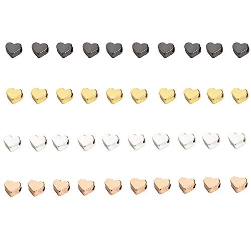 Houhounb 40 cuentas de metal con forma de corazón, 6 mm, para hacer pulseras, collares y joyas, 4 colores