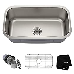 Kraus KBU14 31-1/2 inch Single Bowl Stainless Steel Sink