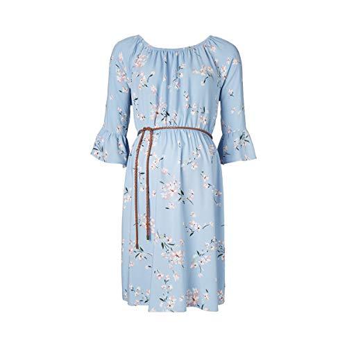 2HEARTS La Robe de Grossesse et d'allaitement Flowers, Blue AOP