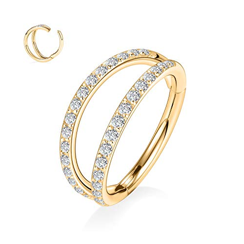 hengkaixuan 16G Helix Earrings Hoop Double Line Clear CZ Paved Septum Ring 8mm Cartilage Earrings 16G 316L Stainless Steel Daith Earring Gold Nose Ring Piercing Jewellery