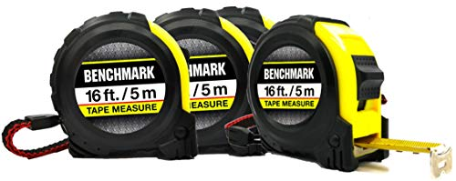 professional Benchmark – 4 packs – 16 foot tape measure – HG series – retractable, self-winding and locking