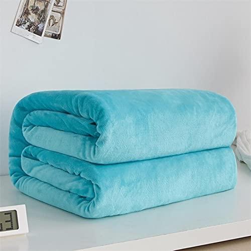 Mantas de Franela de Lana de Coral cálidas Suaves de 230Gsm para Camas de Piel sintética de visón, Funda de sofá Azul Rosa sólida, Mantas a Cuadros
