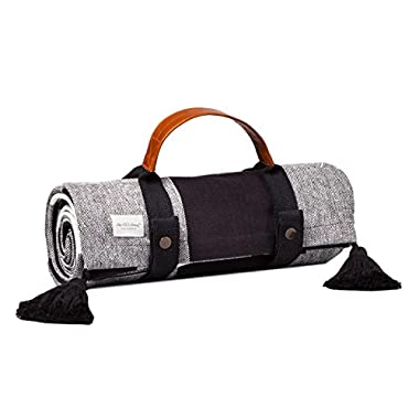 Black White Picnic Blanket with Handle Large Indoor Outdoor Foldup Hearth & Hand Magnolia