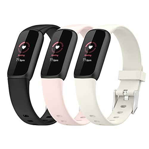 Bexido Correa de repuesto compatible con Fitbit Luke, paquete de 3 pulseras de silicona suave ajustable de repuesto para Fitbit Luke Activity Tracker, pequeño grande, multicolor