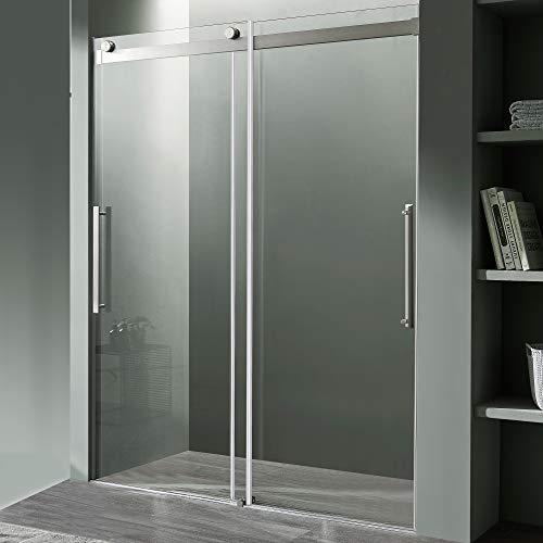 76 x 60 inch Frameless Shower Door in Brushed Nickel   Stella Water Repellent Glass Shower Door with Seal Strip Parts and Handle   Easy Gilde Rollers Sliding Shower Door   SD-FRLS05902BN