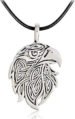 ZVBEP Collar clásico Vikingo Amuleto Lobo águila Colgante Collar Cadena de Cuerda de Cuero Color Plata Steampunk joyería Regalo para Hombres Mujeres