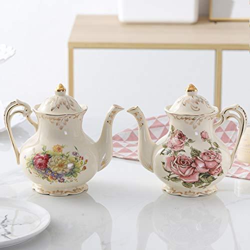 Flowering Shrubs Ceramic Tea Pot ,Floral Vintage Ivory Teapot,29oz
