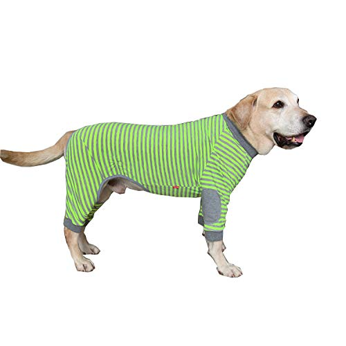 BT Bear, gestreifter Hundepyjama, Overall, für mittelgroße bis große Hunde, flexibel, weich, atmungsaktiv, mit Reißverschluss,