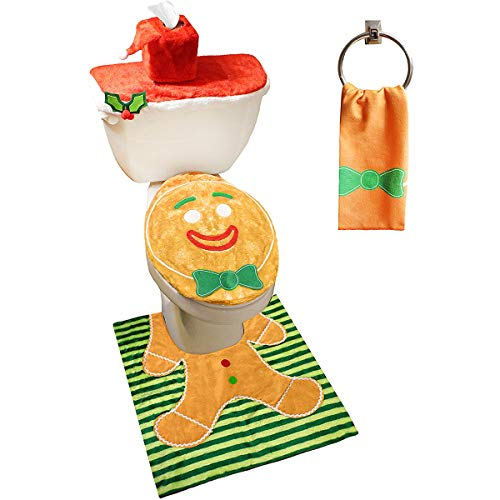 5 Pieces Christmas Gingerbread Man Theme Bathroom Decoration Set w/ Toilet Seat Cover, Rugs, Tank Cover, Toilet Paper Box Cover and Santa Towel for Xmas Indoor Décor, Party Favors