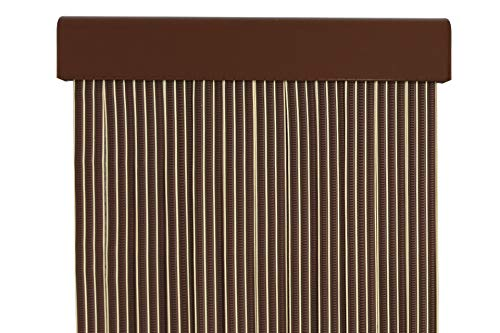 MERCURY TEXTIL Cortina para puerta tiras pvc 210x90cm,Cortina para puerta exterior (Marron+Filo Vainilla)