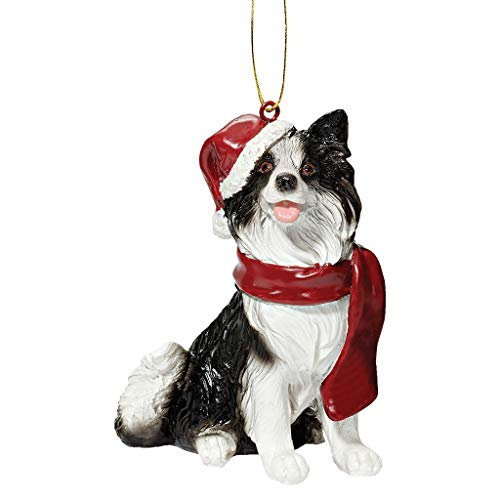 Design Toscano Christmas Xmas Border Collie Holiday Dog Ornaments, Full Color