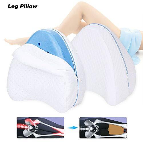 Bettwäsche Kniekissen Klemmkissen Beinförmiges MemoryKissen Memory Foam Bestens geeignet für Waden, Rücken und Knieschmerzen Weiß, Blau