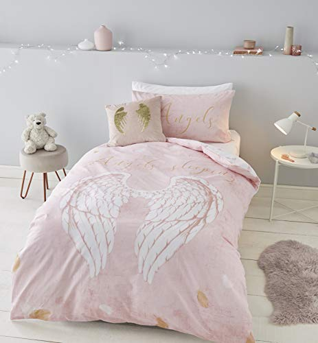 Catherine Lansfield Angel Wings Engelsflügel, 52% Polyester, 48% Baumwolle, Rose, Einzelbett