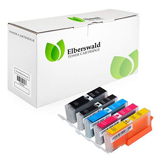 Elberswald 5X Tintenpatronen kompatibel mit Canon für Pixma TR7500 TR7550 TR8550 TS6100 TS6150 TS6151 TS6250 TS6251 TS6350 TS6351 TS705 TS9540 TS9541c TS9550 TS9551c PGI580 XXL CLI581 XXL MIT CHIP