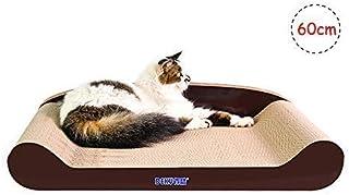 KEBIK 猫 爪研ぎ 段ボール スクラッチャー 猫 おもちゃ ネコソファー 猫ベッド、スクラッチャー両用 運動不足 ストレス解消 (ブラウン 60CM)