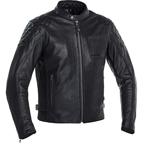 Richa Chaqueta de motorista con protectores Yorktown para hombre, chaqueta de piel para todo el año Negro 50