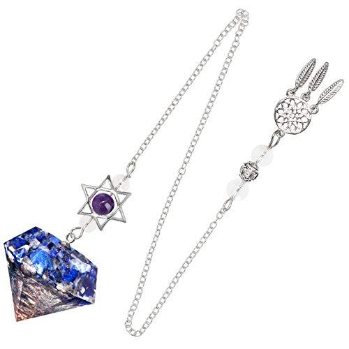 mookaitedecor Pendule à pointe en pierre de résine pour la méditation de divination de radiesthésie Reiki, équilibrage des chakras avec attrape-rêves et étoile Merkaba, Lapis Lazuli