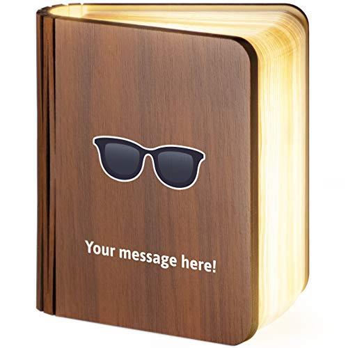 Leselampe aus Holz, faltbar, magnetisch, mit Sonnenbrille, Emoji, holz, S