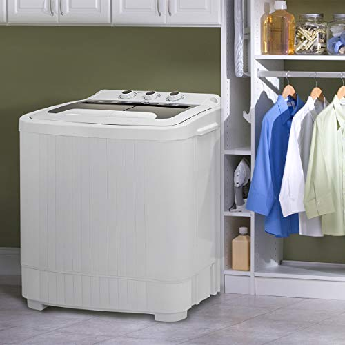 Barton 2in1 Twin Tub Compact Washer and Spinner Dry Cycle with (Built in Pump) Wash Spin Dryer