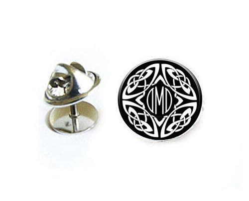 Celtic Monogram Tie Tack, Custom Tie Pin, Lapel Pin