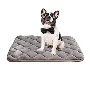 "furrybaby Dog Bed Mat Soft Crate Mat with Anti-Slip Bottom Machine Washable Pet Mattress for Dog Sleeping (M 33×22"", Sliver Grey Mat)"