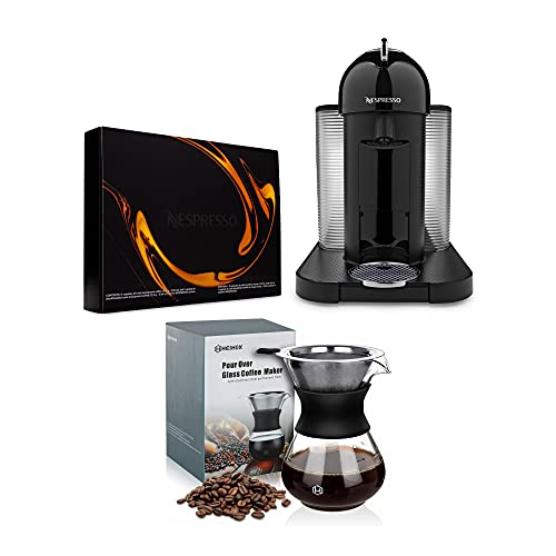 Nespresso VertuoLine Coffee and Espresso Maker (Black) with Pour Over Coffee Dripper Set (14oz) Bundle (4 Items)
