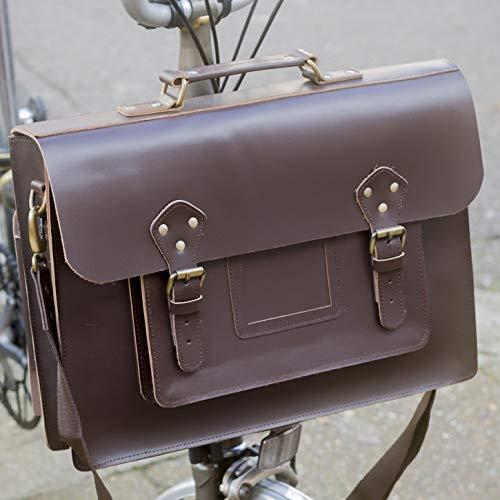 London Craftwork Exklusive Leder Umhängetasche für Brompton Dunkelbraun S-Bag, Dunkelbraun