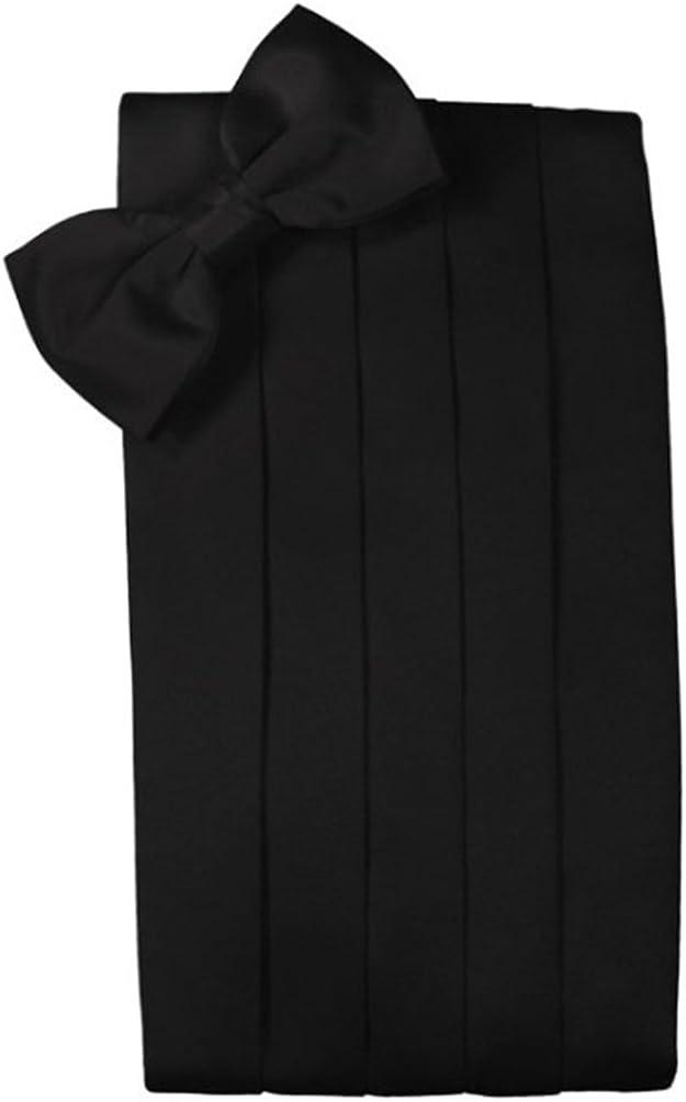 Giorgio Bissoni Mens Black Silk Bowtie and Cummerbund